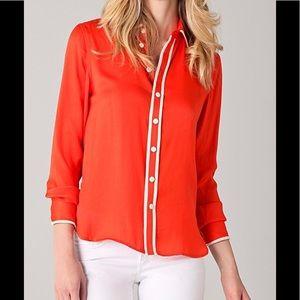 Rag & Bone orange ivory button down blouse M
